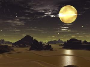 Gold moon over bronze alien landscape